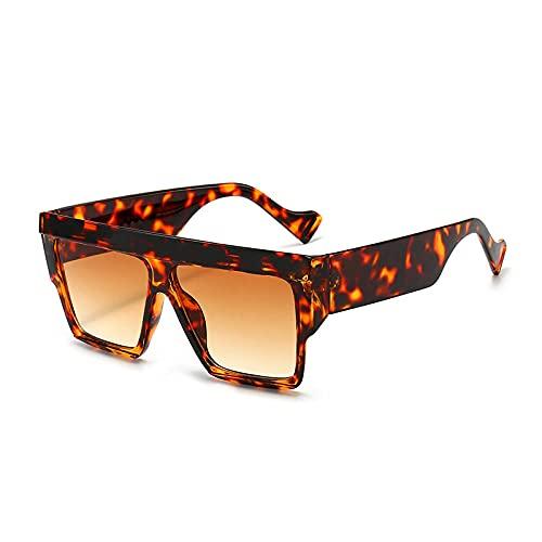 Gafas De Sol Hombre Mujeres Ciclismo Gafas De Sol Cuadradas De Moda para Mujer, Gafas De Leopardo Vintage para Hombre, Gafas De Sol-Leopard_Tea