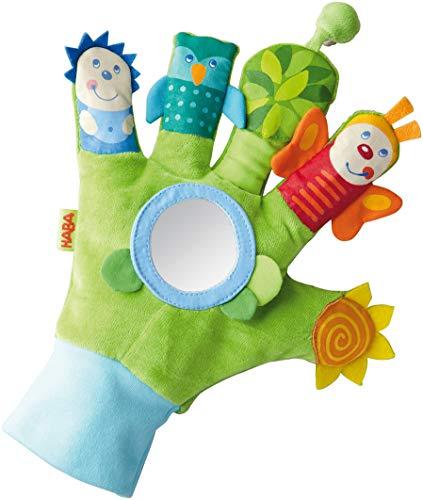 HABA 5797 - Spielhandschuh Zauberwaldfreunde | Baby-Spielzeug mit vielen Effekten zum Fühlen, Sehen und Lauschen | Stoffhandschuh mit optischen und akustischen Elementen | Ab 6 Monaten