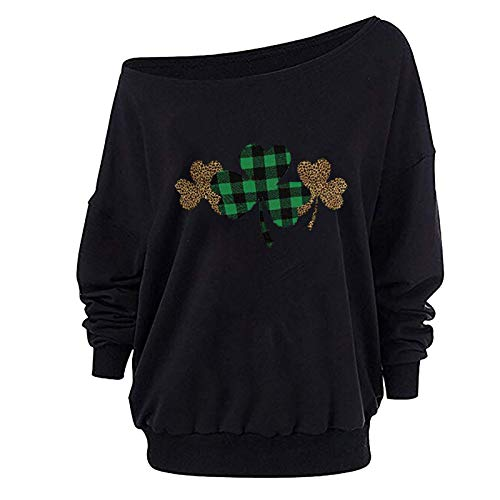 Xmiral Bluse Langarmshirt für Damen Bootshals Love/Shamrock Bedruckte Oberteile Valentinstag St. Patrick's Day Sweatshirt(b-Schwarz,S)