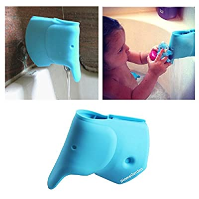 Bath Spout Cover - Faucet Cover Baby - Tub Spout Cover - Bathtub Faucet Cover for Kids - Tub Faucet Protector for Baby -Silicone Spout Cover Blue Elephant - Kids bathroom accessories