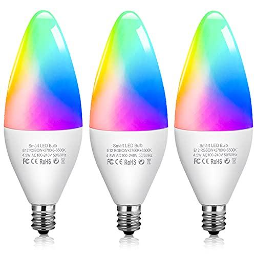 Zigbee Smart Light Bulbs Color Changing LED Light Bulb Sync to Music Multicolor Led Light Bulb Dimmable E12 RGBCW Candle Bulb Compatible with Amazon Alexa Echo(4th Gen) Echo Studio, 3 Pack