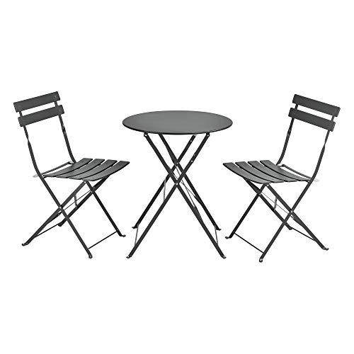 [en.casa] Set de Bistrot Moderne Meubles de Jardin Pliables Design Table Ronde 2 Chaises pour Terrasse Balcon Acier Gris Foncé