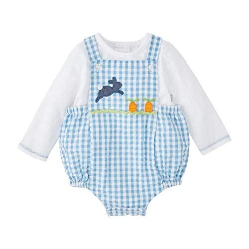 Mud Pie Baby Boys Gingham Bunny Bubble Set, Blue, 0-3 Months