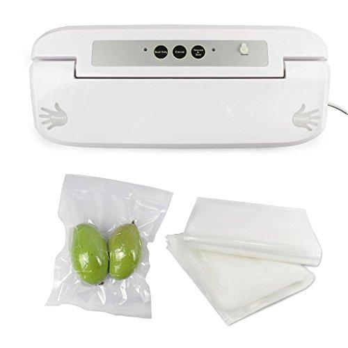 Todeco - Machine de Mise Sous Vide, Machine à Emballage Alimentaire - Puissance électrique: 150 W - Matériau: Plastique ABS - Blanc, avec 50 sacs