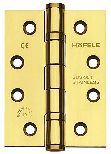JUVA Türscharnier Edelstahl Messing poliert Aufschraubband Startec DHB3222 für ungefälzte Innentüren | Tragkraft bis 120 kg | Aufschraubscharnier für Zimmertür | 1 Stück - Scharnierband mit Schrauben