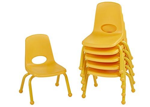 ECR4Kids Schule Stack Stuhl mit Pulver, Beine/Ball gleitet, 10-Inch / 6-Pack, gelb, 1