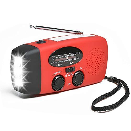 Odoland Solar Radio Kurbelradio Multifunktion Tragbares Outdoor für Notfälle mit Handkurbel LED Taschenlampe Powerbank FM/AM Notfallradio für Wandern Camping Ourdoor