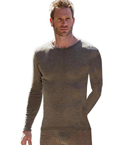 Heren onderhemd lange mouw, wol & zijde, engel natuur, maat 46-56