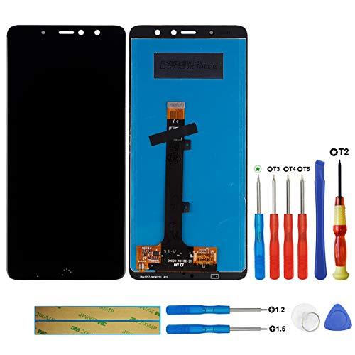 Pantalla LCD compatible con Bq Aquaris X2/X2 Pro Negro (sin marco), pantalla táctil, digitalizador, cristal de montaje, herramientas