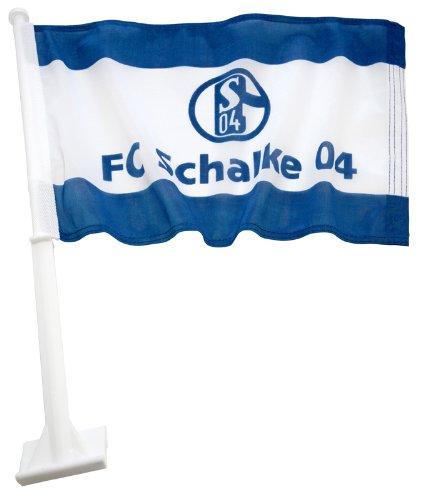 Trade Con Autofahne FC Schalke 04, Blau/Weiss, 30x45cm