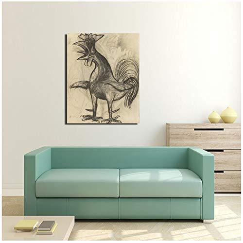 sjkkad Pablo Picasso Der Hahn Leinwand Malerei Drucken Wohnzimmer Dekoration Moderne Wandkunst Ölgemälde Poster Bilder-50x70 cm Kein Rahmen