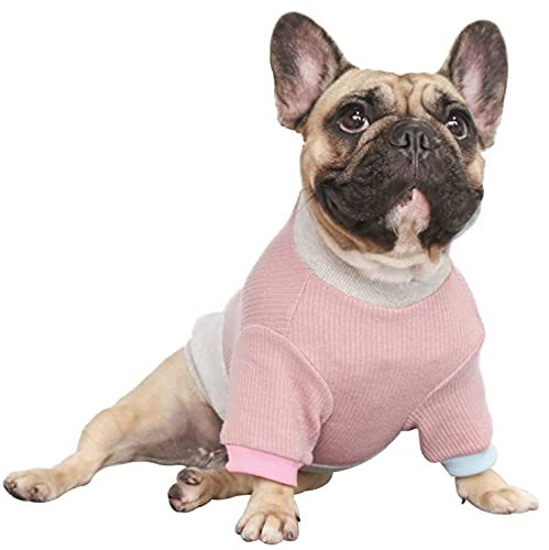 iChoue Pet Dog Crewneck Sweater Color Block Pullover Winter Warm Clothes for French Bulldog Frenchie Shiba Inu - Pink and Grey/M
