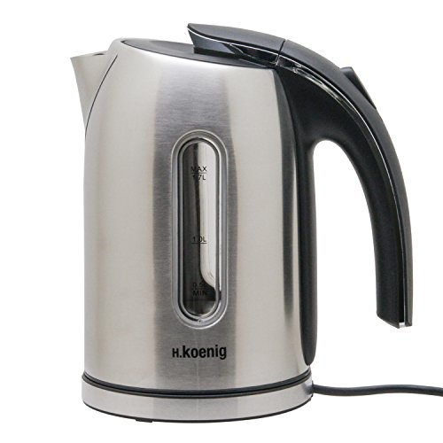 H.Koenig Electric Kettle, acero inoxidable, BO17, Blue LED, 1,7 L, 2200 W