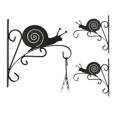 Relaxdays 3X Blumenhaken mit Schnecken-Motiv, Blumenampelhalter für Wand, Metall Garten-Deko, HBT: 30 x 27,5 x 2cm, schwarz