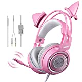 Wired Headset Gamer Pink Cat Ear Headset Cute PS4 Phone PC with Microphone 3.5mm Gaming Phone PS4 Overear Gamer G951s Pink G951spink