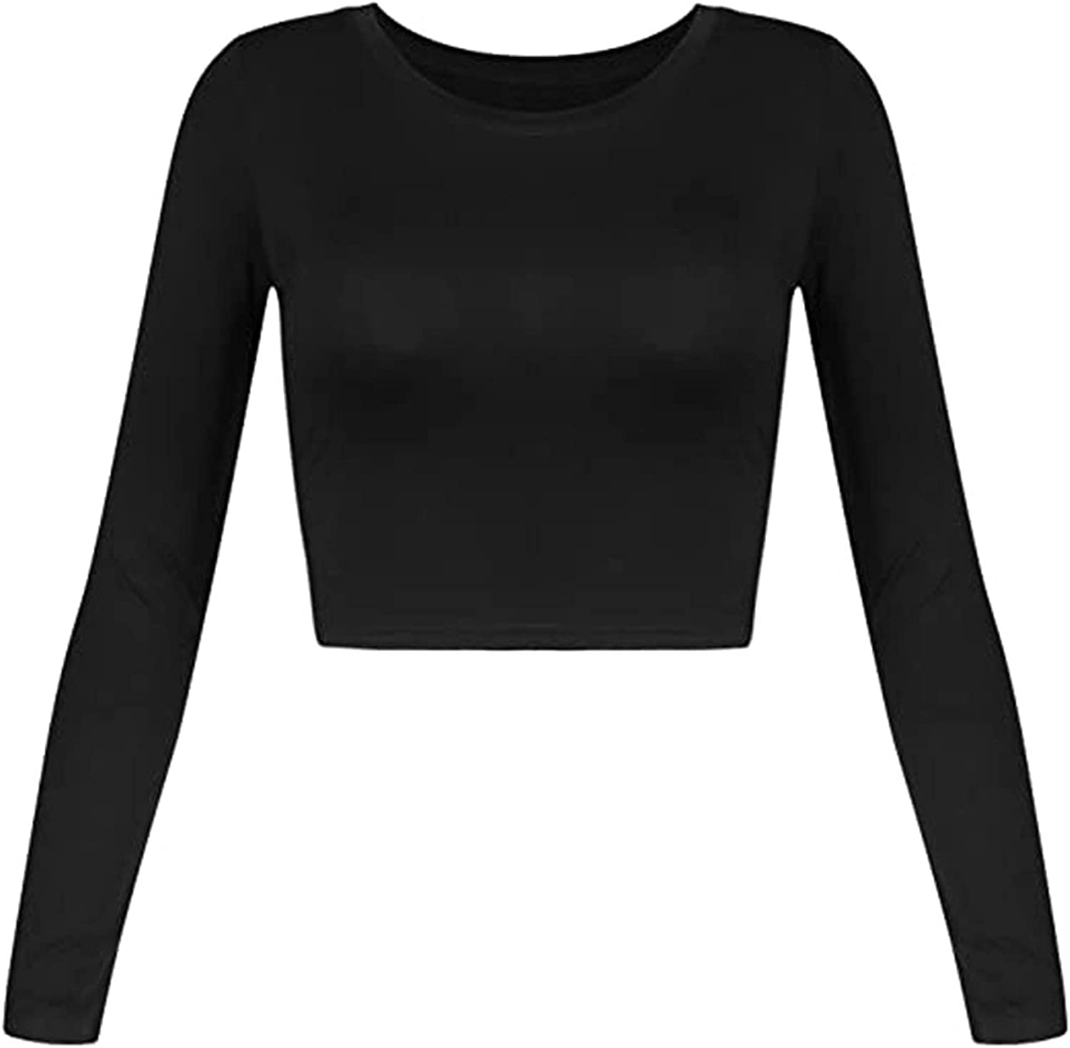 Tops for Woman Casual Long Sleeve Crewneck S Solid Translated Cropped Basic Sales results No. 1
