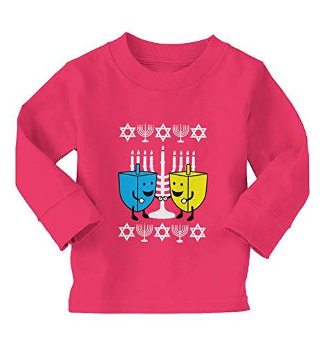 Happy Dreidels - Ugly Hanukkah Sweater Long Sleeve Toddler Cotton Jersey Shirt (Pink, 3T)