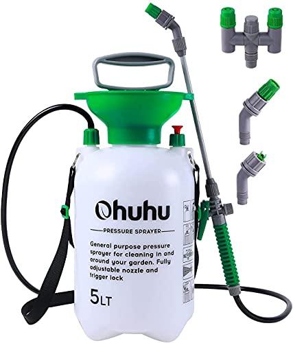 Ohuhu Drucksprüher 5 Liter, Gartenspritze Sprühgerät für den Pflanzenschutz mit 2 verschiedenen Düsen, Überdruckventil & verstellbarem Schultergurt für Düngemittel, Pflanzenbewässerung, Reinigung