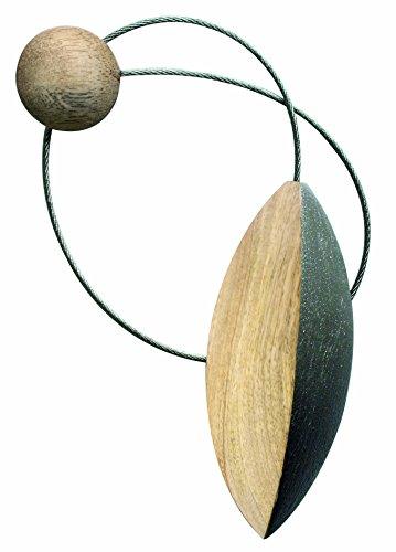Aroa XXI Iman Pilat Abrazadera Decorativa para Cortinas con Sistema de Colocación, Madera, Plomo, 10x4x1 cm