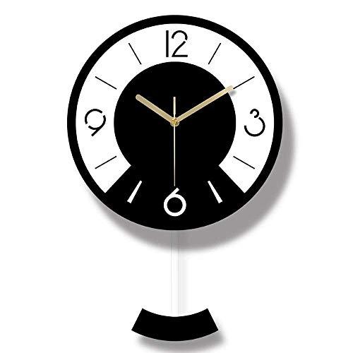kyman Acrílico Blanco y Negro patrón de Dos Tonos Redondo Reloj de péndulo/Reloj de Pared/Reloj
