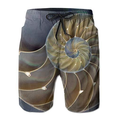 Increíble Nautilus con cámara Pintura Hombres Moda Bañadores Pantalones Cortos Deportivos de Secado rápido Pantalones Cortos de Verano Pantalones Cortos de Playa Pantalones Cortos con Bolsillo XXL