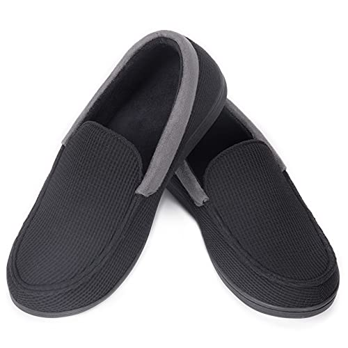 EverFoams Chaussons mocassins confortables pour hommes avec mousse à mémoire de forme noir,42 EU