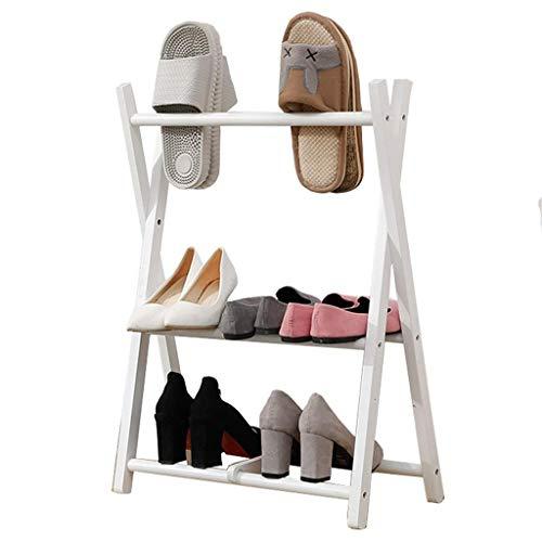 LSQ 3 Couches Porte-Chaussures en Bois Mini-étagère à Chaussures Pliable étagère de Stockage Rack Support de Stockage de Pantoufles en Bois Massif 50 × 32 × 70 cm,B