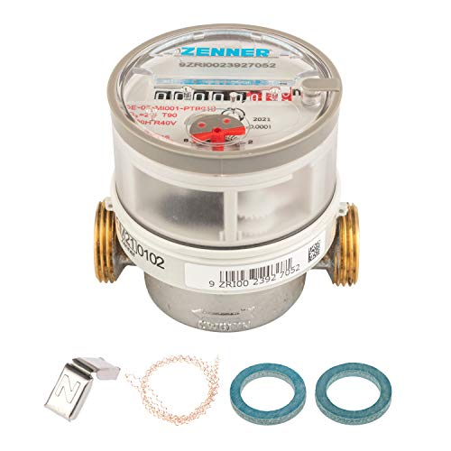 Contador de agua Zenner ETWD para bucear en agua caliente Longitud total 80...