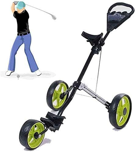 WUAZ Golf Push Cart, Carrelli Golf Spinta 3 Ruote Pieghevoli, Accessori per Il Golf per Gli Accessori Uomini Donne/Figli Golf Club Golf Cart E Necessitie