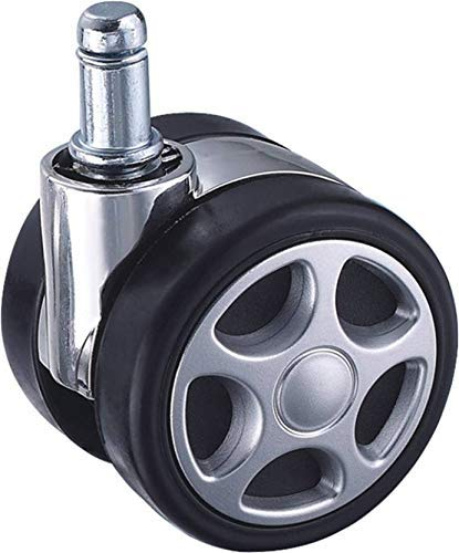 IYB-Heavy Duty Alloy Pin Twin Caster (Wheels) for Office Chairs/Furniture (Black) Color - (Set of 5) Pieces