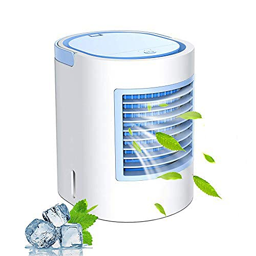 Mini Luftkühler, Air Cooler Klimagerät Klima tragbar Luftkühler 3 Leistungsstufen Tischventilator USB Kühler 7 Farben Mobile Klimageräte Luftbefeuchter für Home Office Auto im Freien (Blau)
