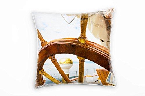 Paul Sinus Art Zee, stuurfiets, boot, bruin, goud, blauw decoratief kussen 40x40 cm voor bank sofa lounge sierkussen - decoratie om je goed te voelen