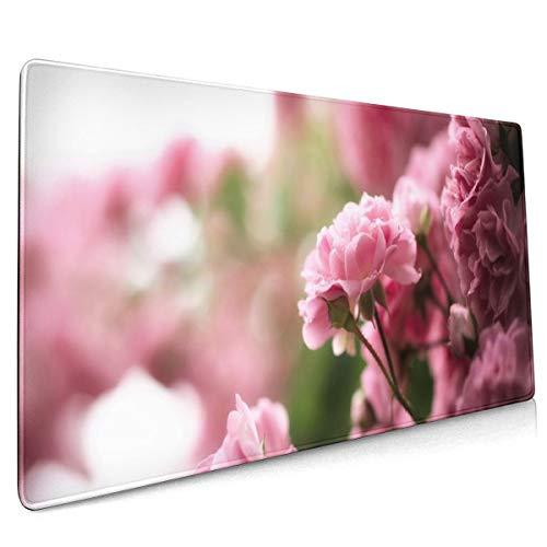 Rose Thee Bloemen Roze Drops Bush Natuur Bokeh Mouse Pad Niet Slip Rubber Grote Gaming Keyboard Mat 15.8x35.5 In