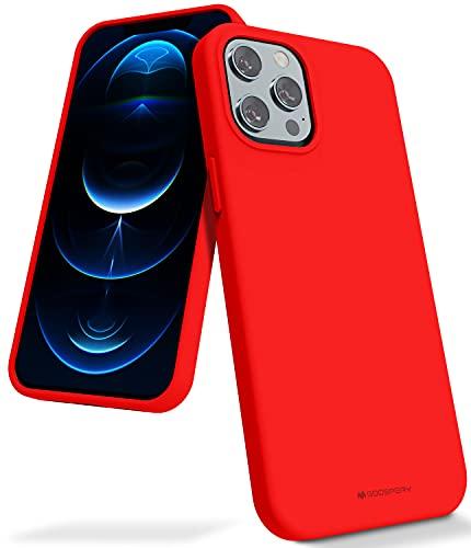 Goospery - Carcasa de silicona líquida para iPhone 12 Pro Max (6,7 pulgadas), suave al tacto, protección completa a prueba de golpes, con forro de microfibra suave (rojo) IP12PM-SLC-RED