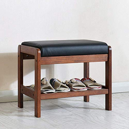 Banco de zapatos de madera de roble macizo con cojín de cuero de imitación negro y estante de almacenamiento, zapatero organizador de entrada / pasillo / dormitorio, color burdeos (tamaño: grande)