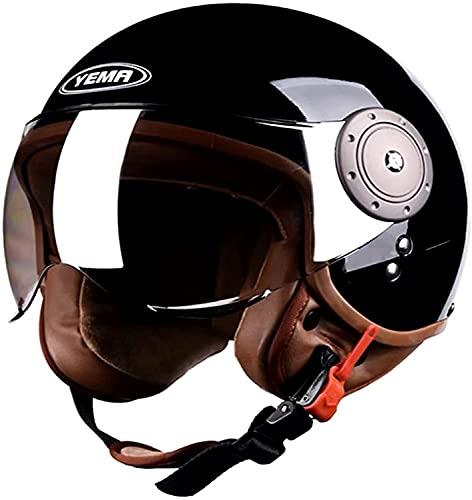 qaqy 3/4 Casco Jet Retro Casco de Motocicleta Scooter-Casco con Visera Solar rapido Hebilla Unisex Medio Cara ciclomotor ATV Ciclismo Bicicleta Verano Cascos Gris (Color : Black, Size : 58~60cm)