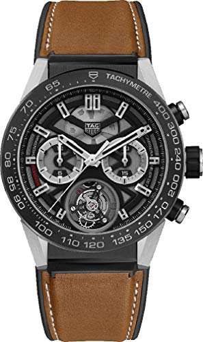 TAG Heuer Carrera Titanium on Brown Calf Skin Rubber / Leather Strap CAR5A8Y.FT6072
