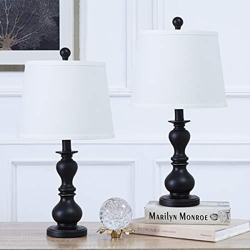 Juego de 2 lámparas de mesa con interruptor, lámpara de noche moderna en resina negra, lámparas de escritorio con pantalla de tela blanca, lámparas de noche para dormitorio(En blanco y negro)
