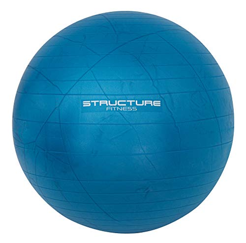 FiNeWaY Gymnastikball, 75 cm, für Yoga, Swiss Core Fitness – ideal für Rumpf-Krafttraining, Stretching, Toning, Widerstandstraining und mehr, inklusive Handpumpe, Blau