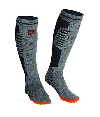 Mobile Warming Heated Premium BT Socks, Tri-blend Construction, Grey/Black/Orange, Men 10-14
