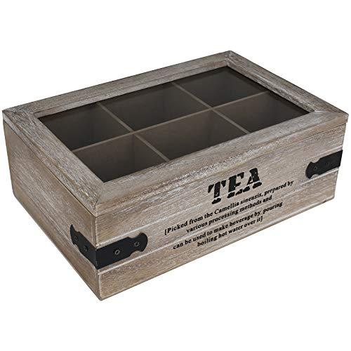 Teekiste 6 Fächer Industrial Teebox Tee Teekasten Teedose Teebeutelbox Teebeutelkiste