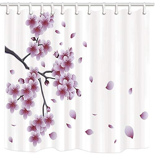 vrupi japanischer Stil Duschvorhang Orientalische Kirsche Sakura Float Bauernhaus Badezimmer Badezimmer schimmelresistent Polyester Stoff wasserdicht Duschvorhang-Set mit Haken 180,9 x 182,9 cm