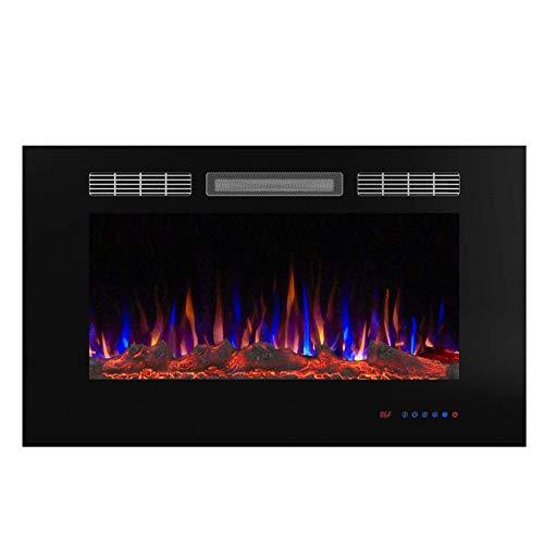 Dyha Elektrische open haard met verwarming loderende vlammen LED-verlichting 750/1500 Watt vermogen van glazen vlammen met houtdecoratie elektrische haard