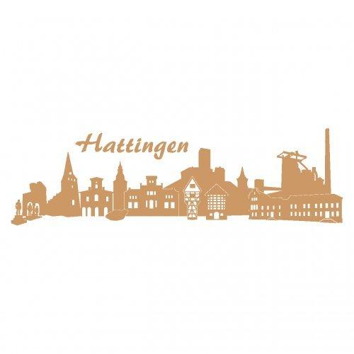 Skyline4u Wandtattoo Hattingen mit Sehenswürdigkeiten in 7 Größen und 19 Farben (60x18cm Hellbraun)