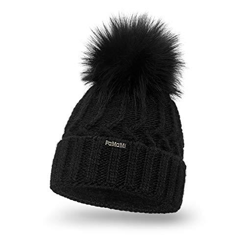 PaMaMi PaMaMi Damen Thermo Wintermütze | warme Strickmütze mit Bommel | Gestrickte weiche Bommelmütze | Slouch Beanie Hergestellt in EU | Farbenauswahl 18544 (Black)