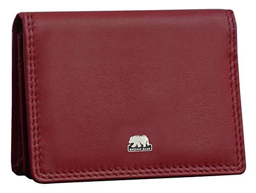 Brown Bear Echtleder Visiten-Kartenetui Leder Rot Damen & Herren RFID Schutz Blocker Kreditkartenetui für Visitenkarten und Kreditkarten Männer Frauen