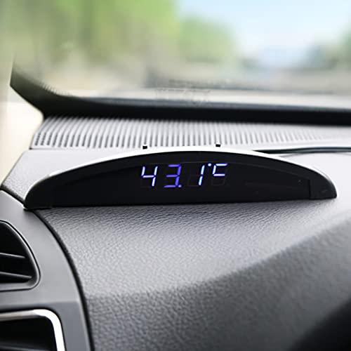 UCISACOLT Reloj digital para coche, termómetro de coche, 3 en 1, monitor de temperatura del coche, pantalla LCD, transparente, voltímetro electrónico, para vehículos de coche, auto