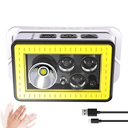 Linterna frontal LED recargable Linterna frontal COB ligera, sensor de movimiento de...