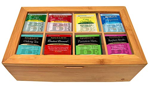 Bigalow Tea Bags Sampler Assortment Box - 80 COUNT - Perfect Variety Pack in Bamboo Gift Box - Gift for Family, Friends, Coworkers - English Breakfast, English Teatime, Green Tea, Early Grey and more