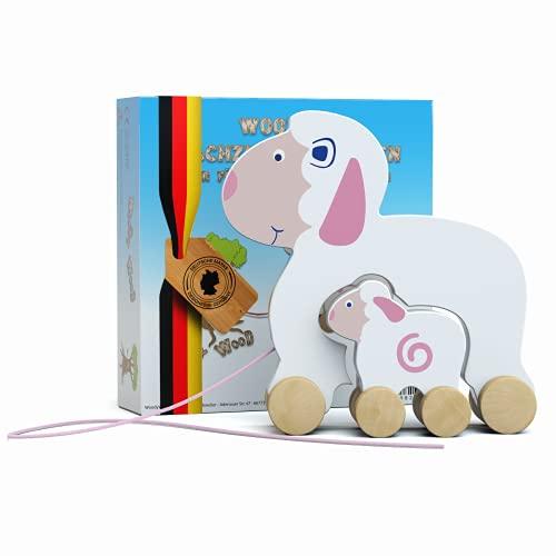 WoodyWood® Nachziehtier Schaf mit Baby Schäfchen aus Holz, Nachziehspielzeug für Babys und Kinder,Holzspielzeug zum Ziehen,Schieben,Spielen,TÜV geprüft